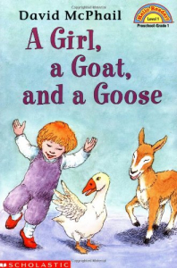 A girl, a goat and a goose