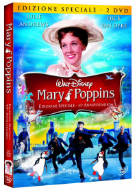 Mary Poppins [DVD] : 45ʻ anniversario / [con] Julie Andrews, Dick Van Dyke, David Tomlinson, Glynis Johns ... [et al.] ; musiche e testi Richard M. and Robert B. Sherman ; sceneggiatura di Bill Walsh, Don DaGradi ; ispirato dal libro di Mary Poppins di P. L. Travers ; diretto da Robert Stevenson
