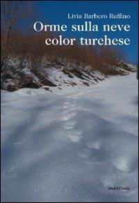 Orme sulla neve color turchese