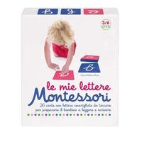 Le mie lettere Montessori :   carte con lettere smerigliate da toccare per preparare il bambino a leggere e scrivere :  Con  Carte