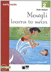 Mowgli learns to swim